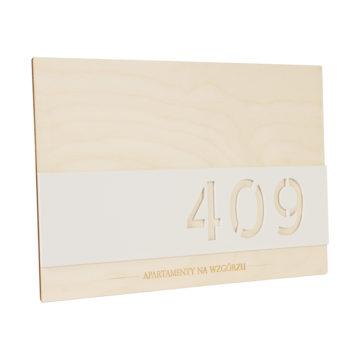 Tabliczka znumer apartamentu sklejka